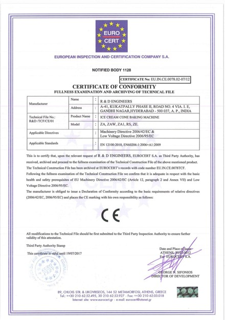 R&D Engineers CE Certificate